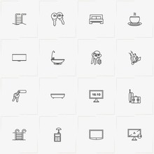 Hotel Line Icon Set  Baggage Television And Lamp On Bedside Table Sticker