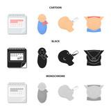 Calendar, newborn, stomach massage, artificial feeding. Pregnancy set collection icons in cartoon,black,monochrome style vector symbol stock illustration web.