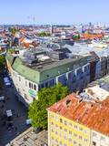 Munich, Germany, on August 16, 2018. A view of Alstadt and city roofs from the survey platform of the New Town hall - 219398235
