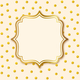 Greeting Card with Label. Gold polka dot pattern