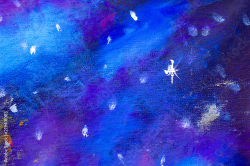 Cosmic space and stars nainting, color cosmic abstract background illustration artwork.