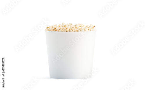 Blank White Popcorn Bucket Mockup Isolated 3d Rendering Clear Pop