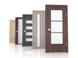 Row five doors on white background - 219405886