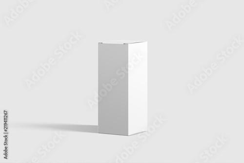 photorealistic rectangle cardboard package box mockup on light grey