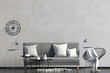 Leinwanddruck Bild - Modern interior with sofa. Wall mock up. 3d illustration.