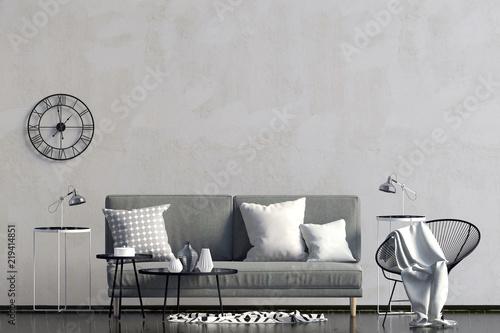 Leinwanddruck Bild Modern interior with sofa. Wall mock up. 3d illustration.