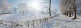 Winterlandschaft mit Sonne - Panorama
