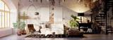 vintage brick loft apartment with emty canvas