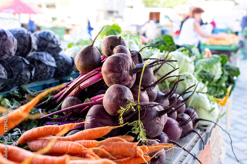 Beetroots, carrots, kohlrabi and red cabbage at market.