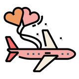 Honeymoon travel LineColor illustration - 219423283