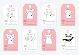 Vector collection of tags with cute animals in pastel colors - 219423286
