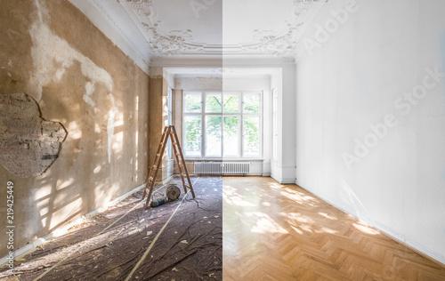 Leinwandbild Motiv apartment renovation - empty room before and after  refurbishment  or restoration