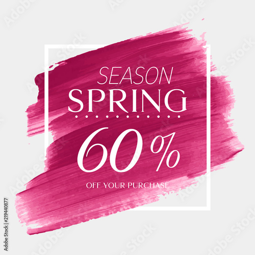 7bc563c2b Spring Sale 60% off sign over watercolor art brush stroke paint abstract  background vector illustration