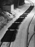 Railroad Car Prints In Snow - 219443409