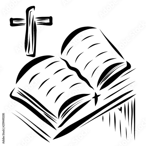 open bible on the table cross sketch buy photos ap images