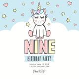 Birthday party invitation with unicorn - 219454659