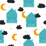 Seamless pattern with cute sleeping house and moon. Vector hand drawn illustration. - 219470210
