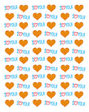 Cartoon background from stylized colorful hearts and inscriptions