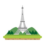 eiffel tower with mountainsand trees landscape