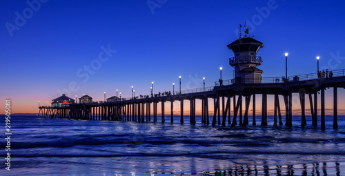 Huntington beach pier at dusk, California, U.S.A.
