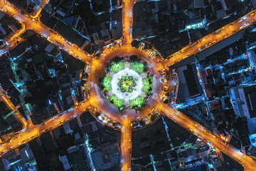 Aerial view of a roundabout in downtown Bangkok, Thailand.