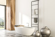Leinwanddruck Bild - Marble and wooden bathroom corner, white tub