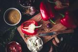 Ingrédients pour Cuisiner avec Poivron Rouge, Coppa, Millet, Fromage Féta, Ail et Olives - 219527637