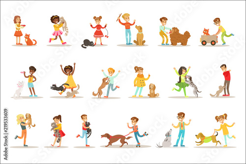 Children And Cats Illustrations Set With Kids Playing And Taking Care Of Pet Animals - 219533609