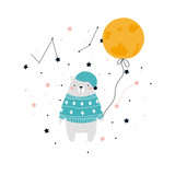 Cute polar bear with moon. Kids bedtime graphic. Vector hand drawn illustration. - 219538621