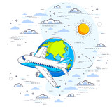 Plane airliner with earth planet in the sky surrounded by clouds, airlines air travel illustration. Beautiful thin line vector isolated over white background. - 219548229