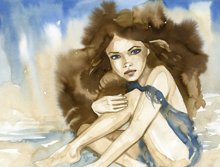 Woman watercolors. © bruniewska