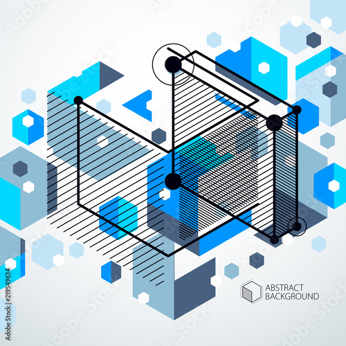 Geometric Technology Vector Blue Drawing 3D Technical Wallpaper Illustration Of Engineering System Abstract