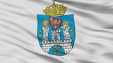 Poznan City Flag, Country Poland, Closeup View