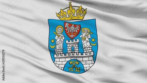 Flaga Poznania, Polska, widok zbliżenie
