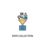 Data collection concept 2 colored line icon. Simple yellow and blue element illustration. Data collection concept outline symbol design from big data set - 219552292