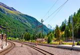 Railway train station and landscape Zermatt Valais Switzerland CH