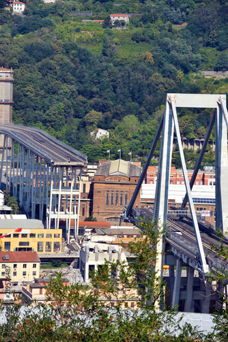 Collapsed Morandi Bridge connects the A10 motorway collapsed due to structural failure   Genoa Italy