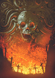 burning graveyard in the skull cave, digital art style, illustration painting - 219579891