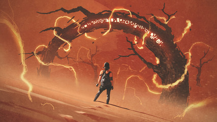 adventure scene showing the young woman standing in front of the odd tree gate with lightning effects against red desert, digital art style, illustration painting © grandfailure