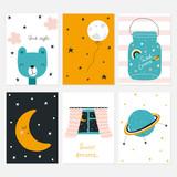 Set of kids bedtime cards. Vector hand drawn illustration. - 219594611
