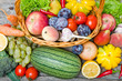 Fruits and vegetables in the basket top view. - 219596639