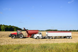 Tractor emptying its load of harvested corn - 219606499
