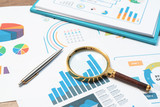 Checking financial reports. Graphs and charts. Documents and magnifying glass on gray reflection background. - 219610443