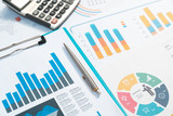 charts. Business reports and pile of documents on gray reflection background - 219610446