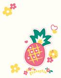 Pineapple and flower T-shirt vector for print design