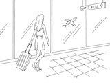 Airport interior graphic black white sketch illustration vector. Woman is walking with a suitcase - 219628891