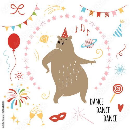 party illustration vector, funny dancer bear and set of design elements,