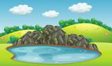 A nature lake landscape - 219635827