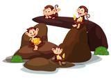 Happy monkeys eating banana at stone - 219636016