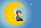 A muslim boy reading on the moon - 219636091